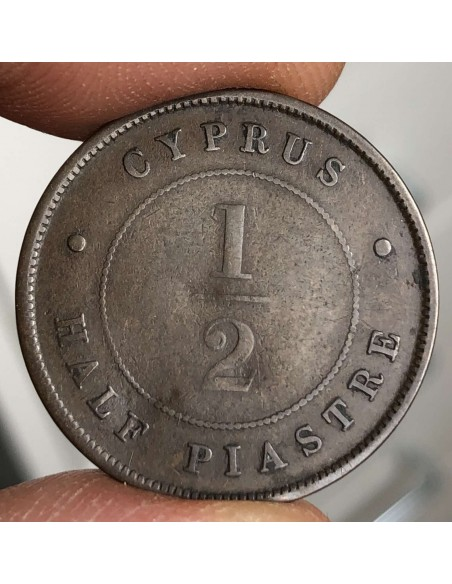 Cyprus 1/2 Piastre 1896 Queen Victoria the Rarest of the 1/2 - Very Low Mintage