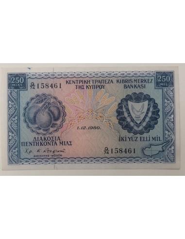 Cyprus 250 Mils Banknote 1980