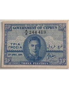 Cyprus Banknote 3 Piastres 1944